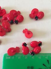 10x Pineapple Button Red Sewing Craft
