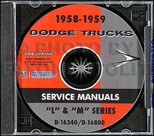1958-1959 Dodge Truck CD Shop Manual Pickup Panel Power Wagon Repair Service