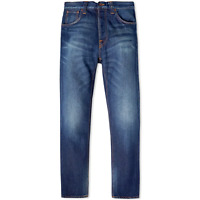 Nudie Herren Regular Tapered Fit Bio Jeans Hose | Steady Eddie Whistle Blue