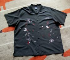 Cherokee Black Embroidered Polker Roulette Las Vegas S/S Button Front Shirt XL