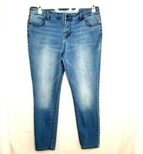 Old Navy Jeans Super Skinny Womens Light Wash Stretch Mid-Rise Tapered 14 Reg