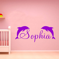 PERSONALISED NAME DOLPHIN CUTE ANIMAL VINYL WALL ART STICKER GIRLS BEDROOM QUOTE