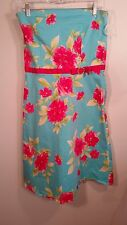 "Studio y Womens Halter Strapless mini summer Floral DRESS Size 13 14 31"" bust"