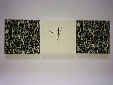 3 noir moderne crème vert léopard imprimé animal tentures murales & en daim synthétique horloge