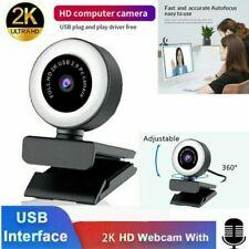 2K/1080P HD Autofokus USB 2.0 Webcam mit LED-Ringlicht 360 Einstellbar für PC