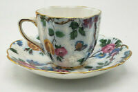 Old Royal Bone China Small Teacup & Saucer Butterfly Bird Chintz #3110-Lovely!