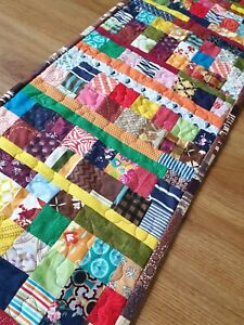 """Elegant Handmade Crazy Patchwork Quilted Long Table Runner 6ft  (72""""x 13"""")"""