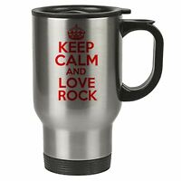 Keep Calm And Love Rock Thermal Travel Mug Red - Stainless Steel