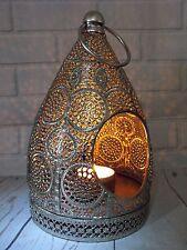 LANTERNA Marocchina Portacandele Metallo Argento Stile Marocchino Lanterna Tè Leggero