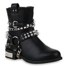 Damen Stiefeletten Biker Boots Gefütterte Stiefel Nieten 825583 Schuhe