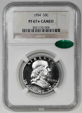1954 PROOF FRANKLIN HALF DOLLAR 50C NGC & CAC CERTIFIED PF 67* STAR CAMEO (004)