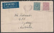 1831 GEORGE V 1s4d RATE  AIR MAIL COVER LONDON TO SYDNEY AUSTRALIA