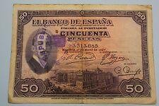 "50 PESETAS 1927 SPAIN SELLO, REPUBLICA ALFONSO XIII BANKNOTE PICK# 80 ""G"""
