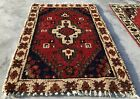 Distressed Hand knotted Vintage Indo Door Mat Wool Area Rug 3 x 2 Ft (1969 KBN)