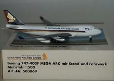 NEW HERPA 500869 SINGAPORE 747-400F MEGA ARK SINGAPORE AIRLINES CARGO 1:500 RARE