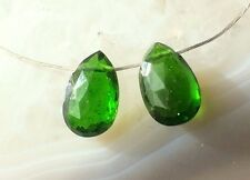 NATURAL Green CHROME DIOPSIDE Gem 7.5mm Faceted Briolette Pear Drop Bead PAIR
