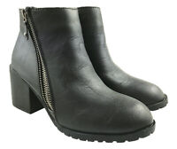 LADIES FAUX LEATHER CHUNKY HEEL ZIP DETAIL ANKLE BOOTS BLACK SIZE UK 5-8