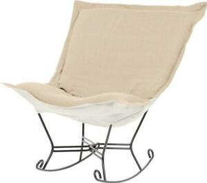 HOWARD ELLIOTT STERLING POUF ROCKER CHAIR ROCKING SAND SOFT BURLAP-LIKE