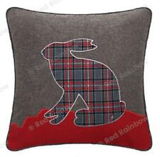 "Tartan 18"" Red & Grey Highland Hare Check Cushion Cover"