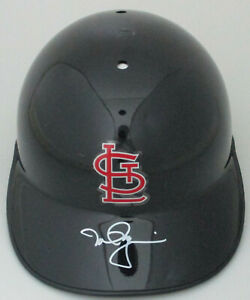 Cardinals MARK McGWIRE Signed Rawlings Baseball Full Size Black Helmet AUTO JSA