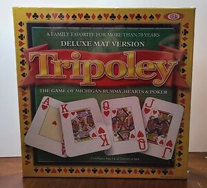Tripoley Deluxe Mat Version Michigan Rummy Hearts & Poker In Box -  New Sealed