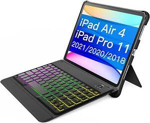 Tastatur Hülle für iPad Air 4/iPad Pro 11 Zoll 2021-2018, abnehmbare, Backlight