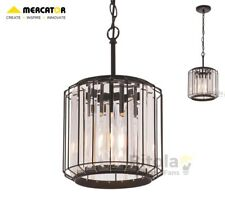 NEW MERCATOR OLYMPIA SMALL 1 LIGHT CEILING PENDANT - BLACK WITH CRYSTAL SHADE