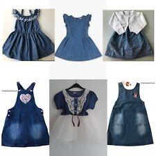 Mädchen Jeans Kleid Latzkleid Minnie Mouse Elsa Anna Frozen Denim Kleidchen Tutu