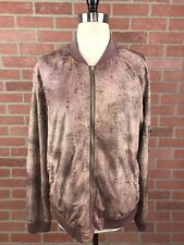 Urban Outfitters Womens Large Bomber Jacket Dusty Pink Spray Paint Lightweight