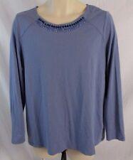 Susan Graver Womens Large Blue Embellished Stretch Career Blouse Shirt CB45F