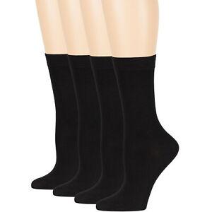 Womens Bamboo 4 Pack Solid Crew Socks L-M Black-Navy-Brown-Beige-Grey-White