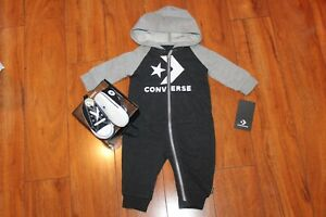 NWT BOYS GIRLS CONVERSE SZ 3 BABY BLACK SHOES, ROMPER SZ 6 MONTHS