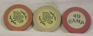 Three Old Crest  &  Seal chips -- 49 Camp & PAC (illegal Athletic Club game???)