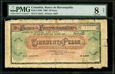 Barranquilla, Colombia 50 Pesos, 26-7-1900, PMG Graded Good 8 Net SCWPM-S260