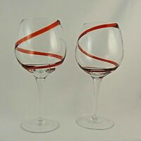 """SWIRLINE RED by Pier 1 One Balloon Wine Glasses Goblets - Set of 2 - 8 5/8"""""""
