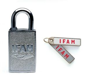 IFAM MAGNETIC PADLOCK. EASY TO USE FOR ALL AGES. NO KEYWAY. MAGNETIC KEY FOB.
