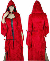Medieval Vampire Priestess Witch Game Thrones Dress Costume Hood -10 12 14 16 18