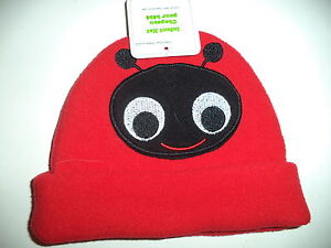 One Size Red Infant Polyester Hat With A Black Bug Face With Smile