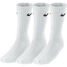 3 Pairs X Nike Mens Womens Unisex Cotton Crew Sports Socks Size UK 2-14 (sx4508) Black White Grey 8-11
