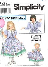 Daisy Kingdom Sewing Pattern Girl's DRESS & APRON & DOLL 9039 Sz 3-4-5-6 UNCUT