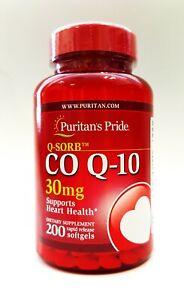 PURITANS PRIDE C0 Q-10 30 mg 200 Rapid Release Softgels - Heart Health
