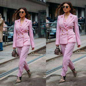 Pink Double Breasted Women Suits Prom Ladies Business 2 Pieces Plus Size Suits