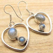 Fire LABRADORITE 2 STONE Heart Earrings ! Silver Plated Fashion Jewelry