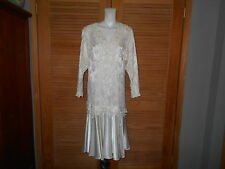 URSULA of Switzerland Victorian Ivory Lace Evening Dress Size See mesrmt  #1208