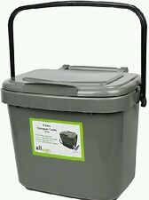 5L Kitchen Compost Bin Caddy ALL GREEN Food Waste Re-cycling Silver GREY Handle