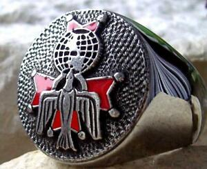 [ SIZE 12.5 KNIGHTS OF COLUMBUS 4th DEGREE ] RING BAGUE SILVER PLATED PIN PATCH