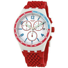 Swatch Red Track White Dial Mens Chronograph Watch SUSM403