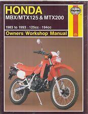 HONDA MBX125 F , MBX125 RW & MTX200 RW (1983-93) OWNERS WORKSHOP MANUAL * NEW *