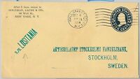 56781 - PAQUEBOT - USA - POSTAL STATIONERY COVER mailed onboad  LUSITANIA 1914