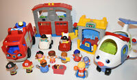 Fisher Price Little People Bundle Lot Fire & Rescue Station Engine Figures Plane